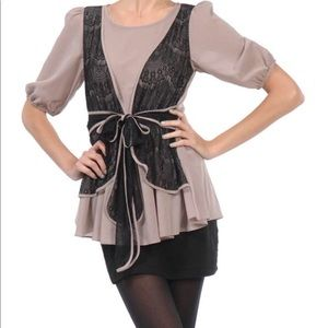 Taupe and black lace top